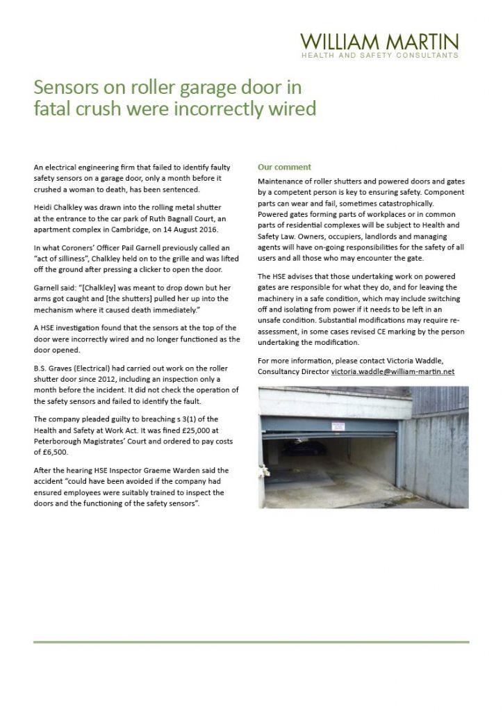 Garage Door Fatal Crush